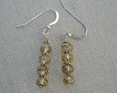 Clear Champagne and Coffee Glass Bead Earrings
