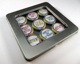 Cute Striped Magnet Set / Refrigerator Magnets / Locker Magnets / Ready for Gift Giving / 9 Piece Set