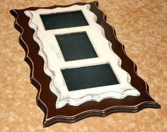 Twin Stacked Picture frame multi opening 3) 4x6 or 5x7 openings Multiple Shabby Whimsical  Story Board
