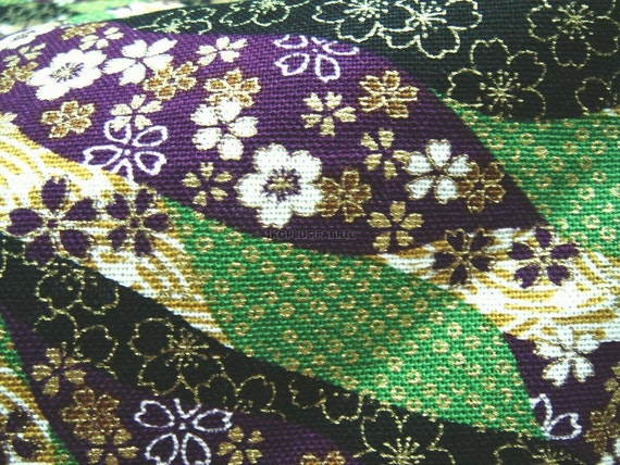 Weekly Special Offer -- Sale -- Gorgeous Sakura Flowers Design Green/Purple Combo -- Japanese Kimono Style -- EK-QS38313C