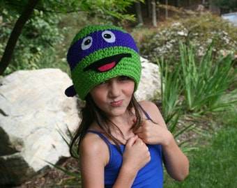 Blue Ninja turtle hat for small child -  handmade winter character hat Halloween costume