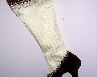 Victorian white satin and burgundy velour high-heeled Christmas stocking