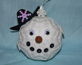 Snowman Handmade Quilted Holiday Ornament