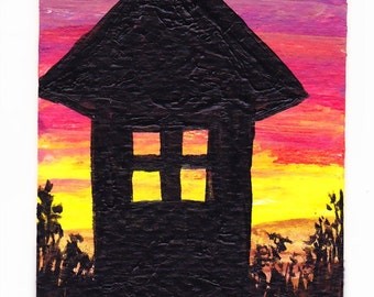 Original ACEO Silhouette Sunset Watch Tower Original Mini Painting OOAK Collectible