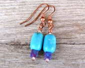 Turquoise Copper Earrings Purple Turquoise Copper Jewelry Turquoise Jewelry Southwestern Earrings Bohemian Earrings Simple Stone Jewelry