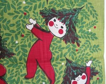 Linen Tea Towel Christmas Tree Babies Elves Chuck Gruen