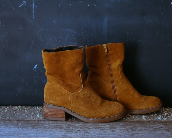 Temporary Reserve Vintage Ankle Boots Suede Yellow Women From Nowvintage on Etsy