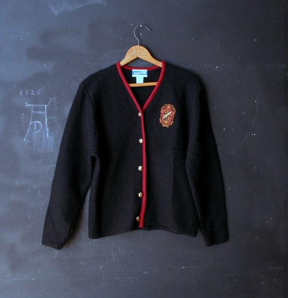 Vintage Pendletonl Sweater Cardigan Wool Black and Burgundy Womens