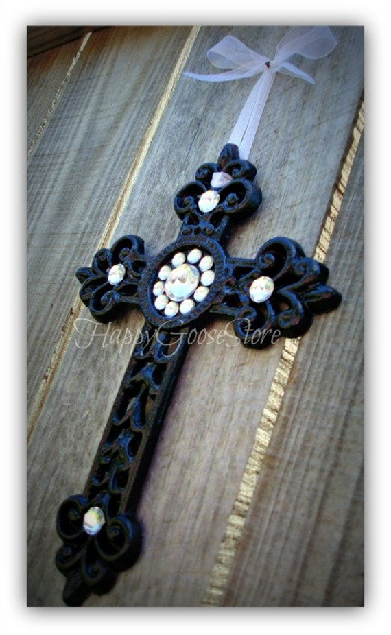 Wall Decor With Rhinestone : Iron rhinestones wall hanging cross black or your color