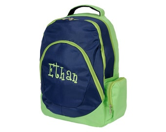 SALE! / Navy and Lime Backpack Personalized with any Name