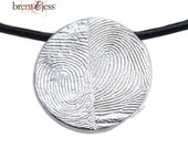 Sterling Silver Custom Double Thumbprints Pendant or Charm Disc shaped