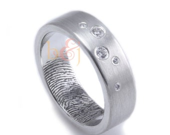 Scattered Diamonds Custom Fingerprint Wedding Band in Sterling Silver