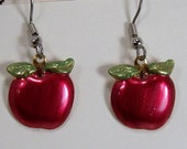 Hand Painted Red Apple Earrings, Brass Apple Charm, Back to School Jewelry, Dangle Jewelry, Green Leaves, Teacher Gift, School Room