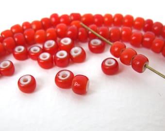 Vintage Glass Beads Italian Red White Hearts 5mm vgb0492 (50)