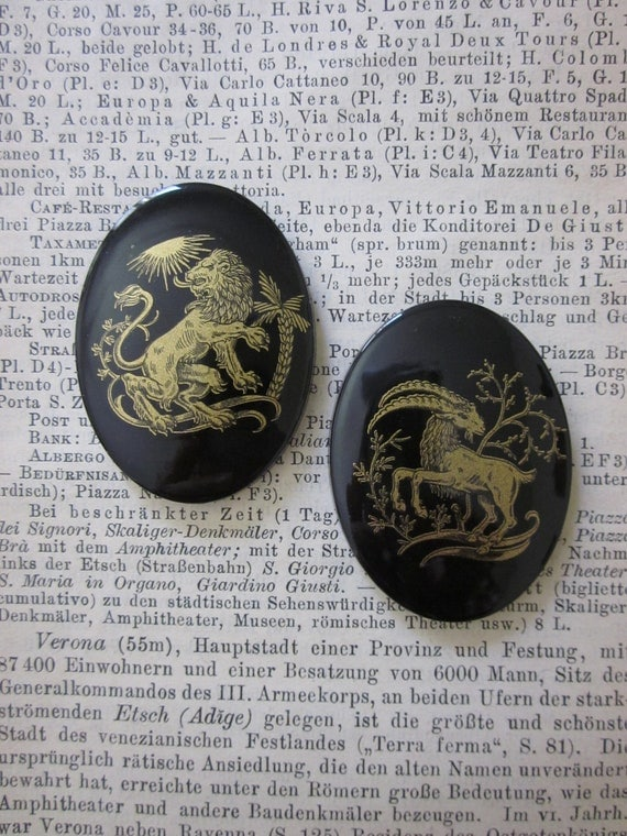 Gold and Black Lion and Ram Astrological 40x30 cabochons