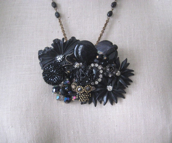 RESERVED FOR SEANNA Black  Necklace Vintage brooch Collage Goth Owl Steampunk Shabby
