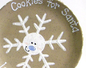 Snowflake Cookies for Santa Plate - Personalized Cookies for Santa Plate - Hand Painted Personalized Christmas Plate - Keepsake Plate