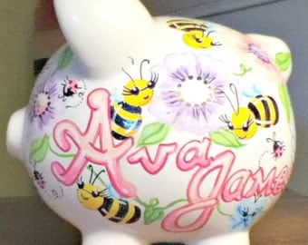 Childrens Handpainted Piggy Bank Bumblebee Ladybugs and Flowers