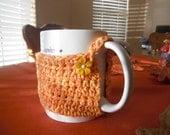 Crochet Button Cup Cozy Orange Tweed