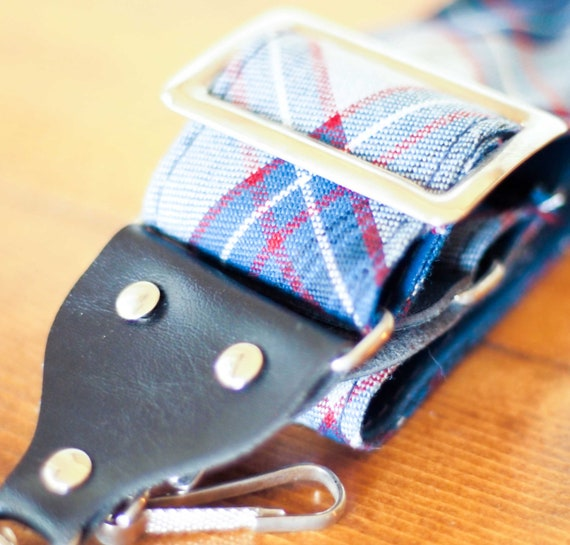 Vintage Camera Strap in Blue & Red Plaid