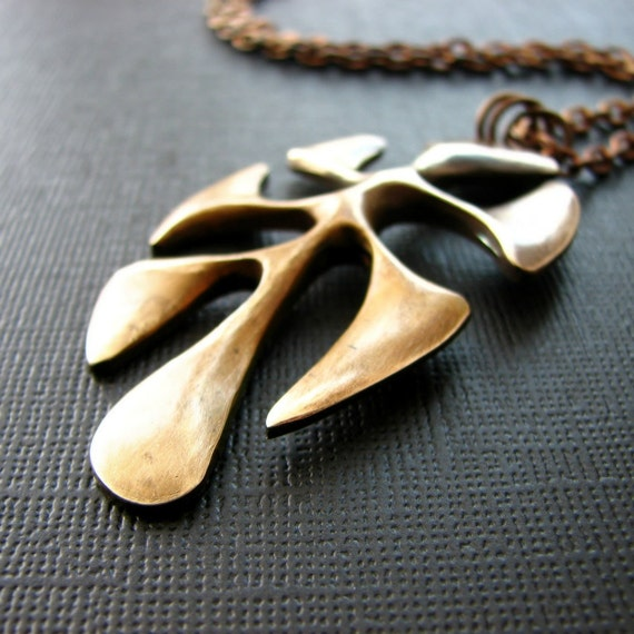Vintage brass necklace organic shape leaf charm natural patina rustic minimalist - Terrestrial