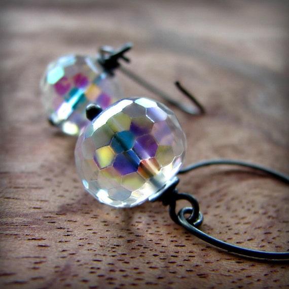 Discoball glass bead sterling silver oxidized half hoop earrings - Fantasy
