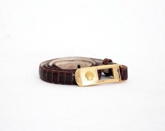 Nautical Shell Buckle Genuine Snakeskin Skinny Belt. Extra Small.