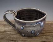 RaiN StoRM MuG in Heart Shape - Cloudy Gray Blue - Rain Drops - Large Mug - Coffee Mug - by DirtKicker Pottery
