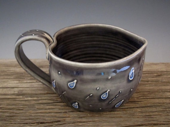 RaiN StoRM MuG in Heart Shape - Cloudy Gray Blue - Rain Drops - Large Mug - Coffee Mug - by DirtKicker Pottery