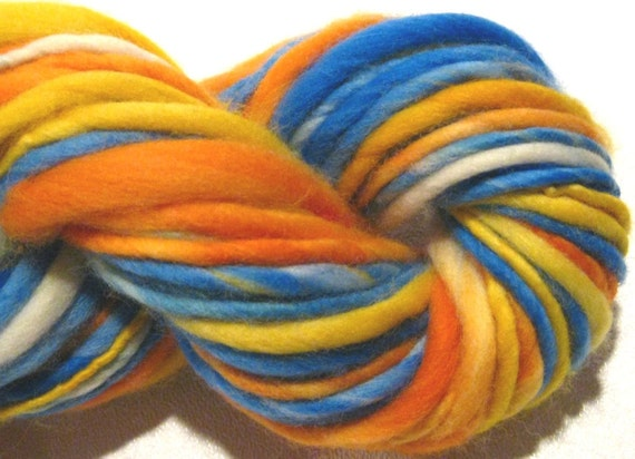 RESERVED for Peggy handspun yarn Beach Ball thick and thin bulky singles merino yarn, 108 yards, hand dyed merino wool top
