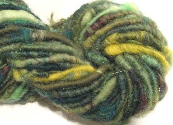 handspun sparkly corespun art yarn Sunny Glen 48 yds handspun yarn green merino wool knitting supplies crochet supplies