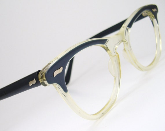 Vintage 50s Blue And Clear Horn Rim Cat Eye Eyeglasses Sunglasses Frame Imperial USA