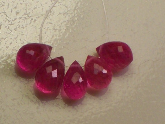 RESERVEd Ruby  SALE Save 15% with code 15OFF AAA Hot Pink Gemstone Faceted  Bead briolette Drops 5 pcs. 7x4-8x5mm