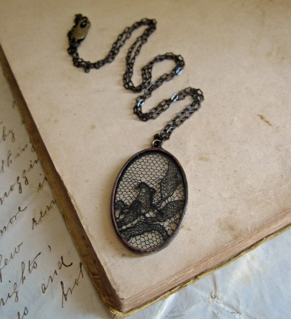 Black Lace Necklace Vintage