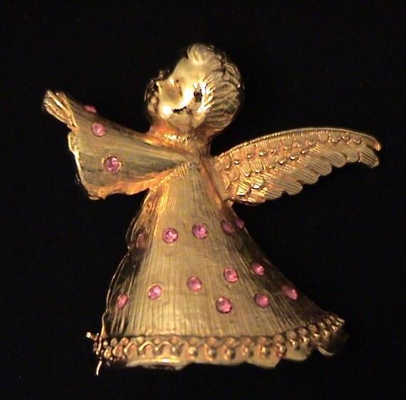 Vintage DODDS Pink Rhinestone Angel Brooch
