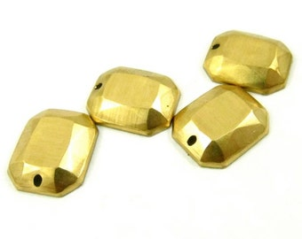 6 - Raw Brass Faceted  Octagon Charms