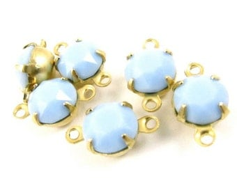 6 - Vintage Round Faceted Stones in 2 Rings Closed Back Brass Prong Settings - Light Blue - 35ss