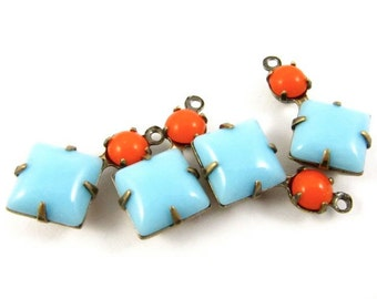 2 - Vintage Glass Square and Round Stones in 1 Ring 2 Stones Antique Brass Prong Settings - Turquoise & Orange - 18x11mm