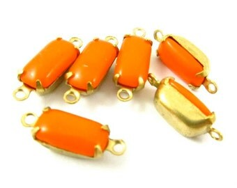 Vintage Glass Octagon Stones 1 Ring 2 Rings Closed Back Brass Prong Settings 10x5mm Opaque Tangerine Orange - 6