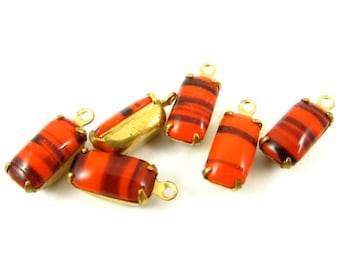 6 - Vintage Glass Octagon Stones in 1 Ring Brass Prong Settings - Red - 10x5mm ...