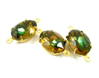 4 - Topaz and Olive Vintage Set Stones Oval Glass 2 Rings 14x10mm Connectors Brass Prong Settings