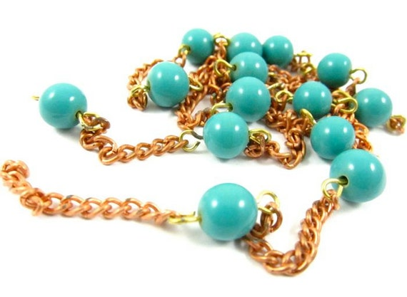 2 feet Vintage Copper Coated Glass Bead Chain - Turquoise .