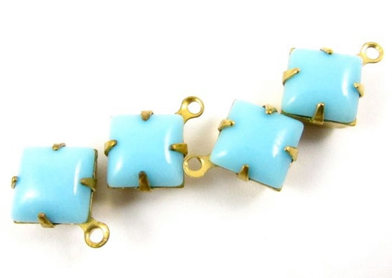 4 - 8x8mm Vintage Glass Square Stones in 1 Ring Closed Back Brass Prong Settings - Opaque Turquoise Blue .