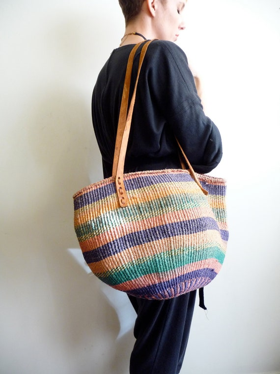 Multicolored Striped Woven Jute Market Bag