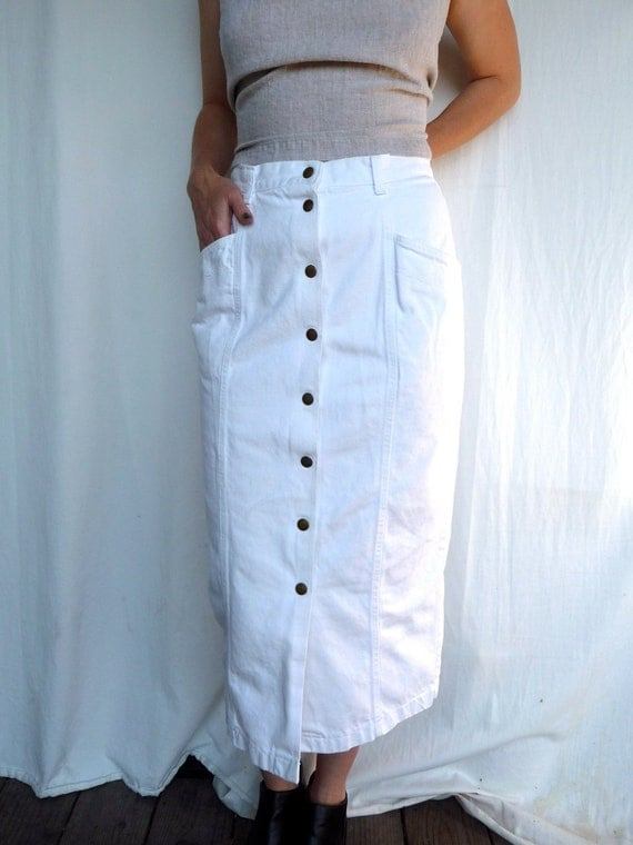 High Waisted White Denim Pencil Skirt by TripleGemini on Etsy