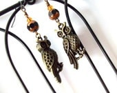Spooky Brass Hedwig-Style Owl Earrings for Halloween