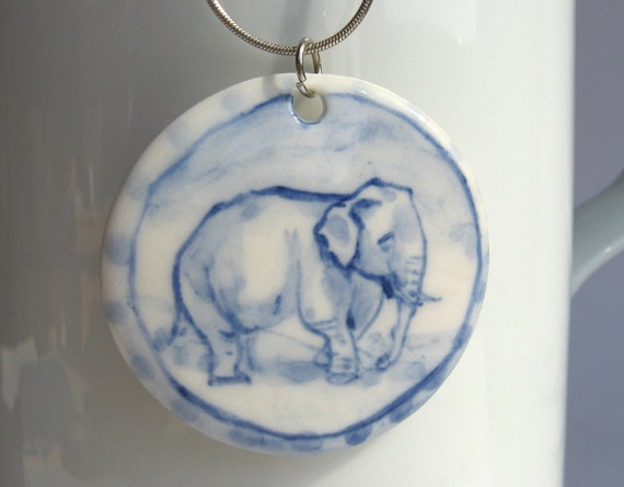 Elephant pendant necklace  - Handpainted Blue Delft Porcelain