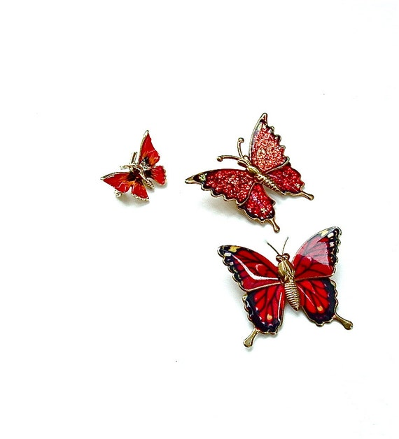 Vintage Jewelry Lot - Three Butterfly Brooches - Crimson Red and Sparkles