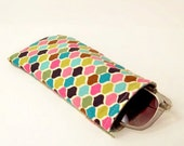 Retro Sunglass Eyeglass Case Cover Mod Colorful Tile