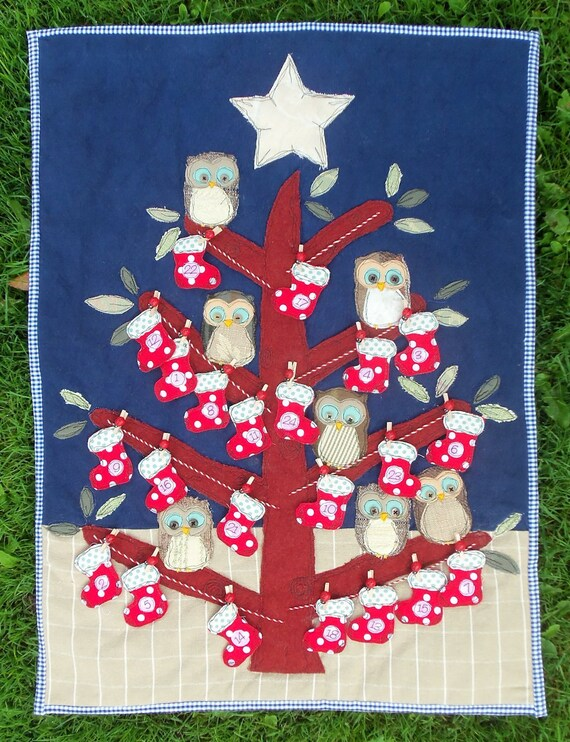 Calendar Embroidery Design : Items similar to baby owls advent calendar pattern pdf